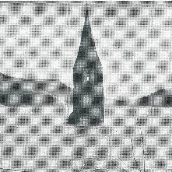 The Lost villages. derwent church spire surrounded by water