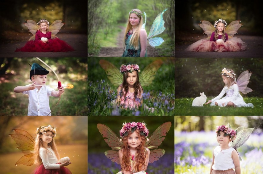 Collage of fairy photo shoot by northampton fairy photographer